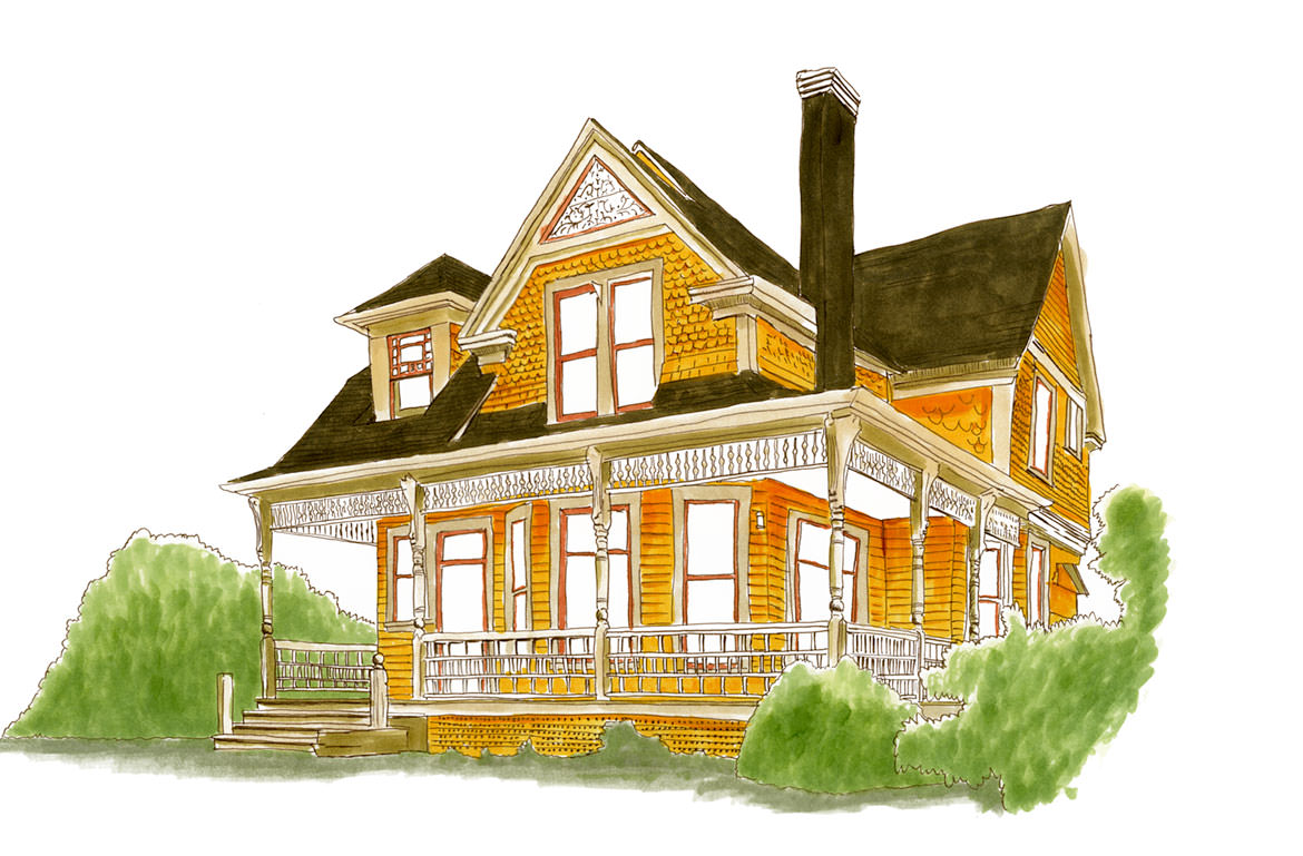 Ainsworth home sketch in Portland, Oregon
