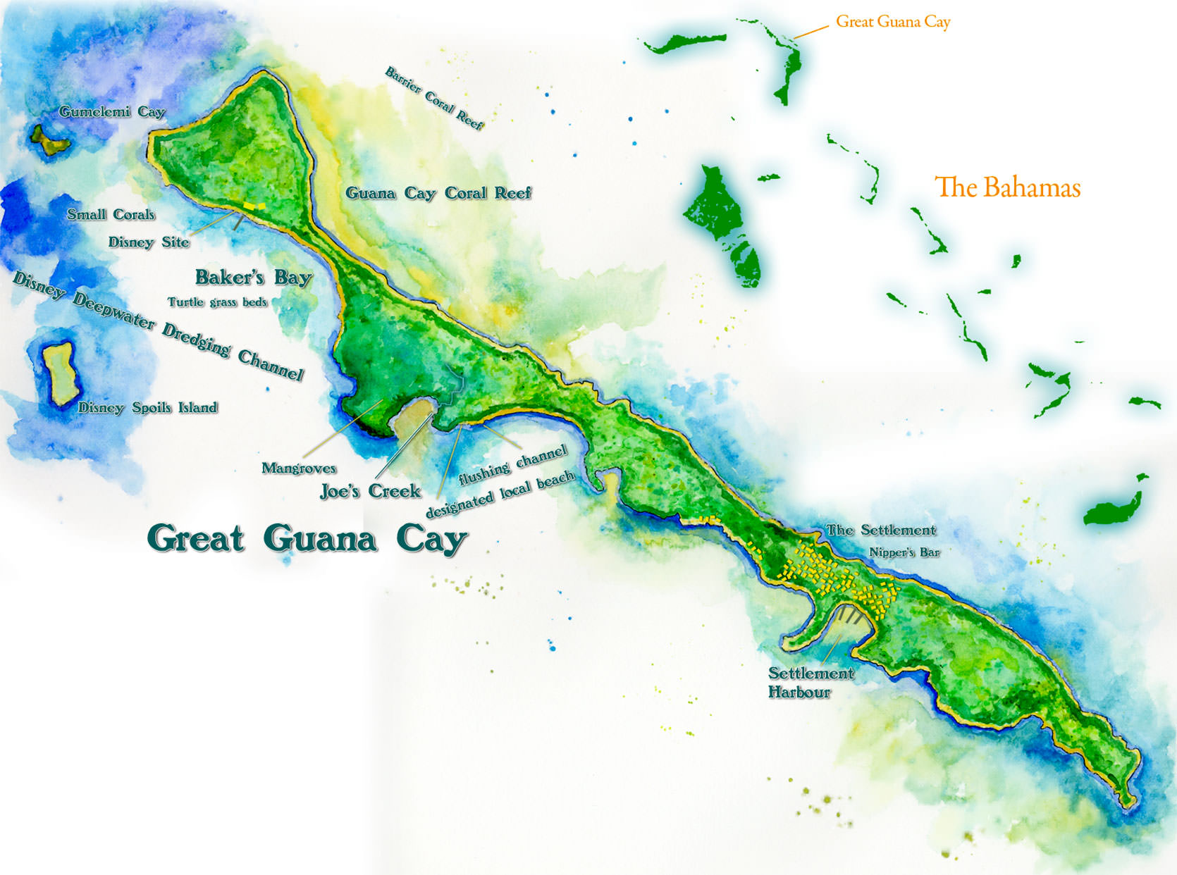 Map of Bakers Bay Golf Resort in the Bahamas