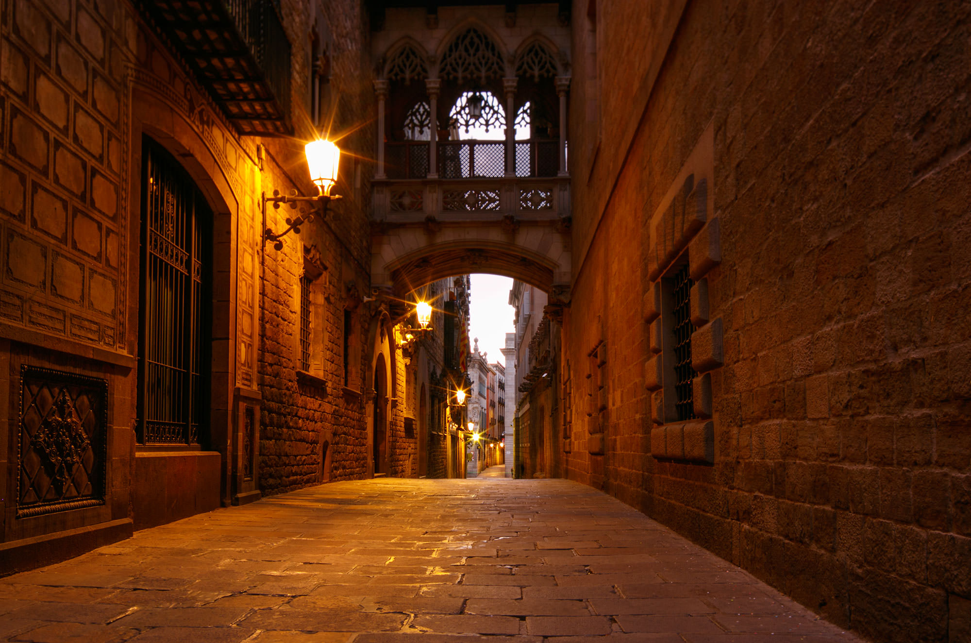 Double Arch on Carrer del Bisbe Street in Barcelona