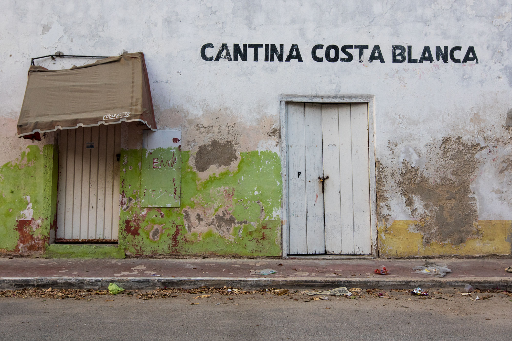 Sundrenched walls at the Cantina Costa Blanca in Celestún