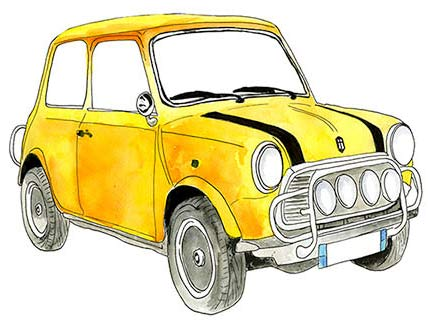 Sketch of Yellow Classic Mini Car