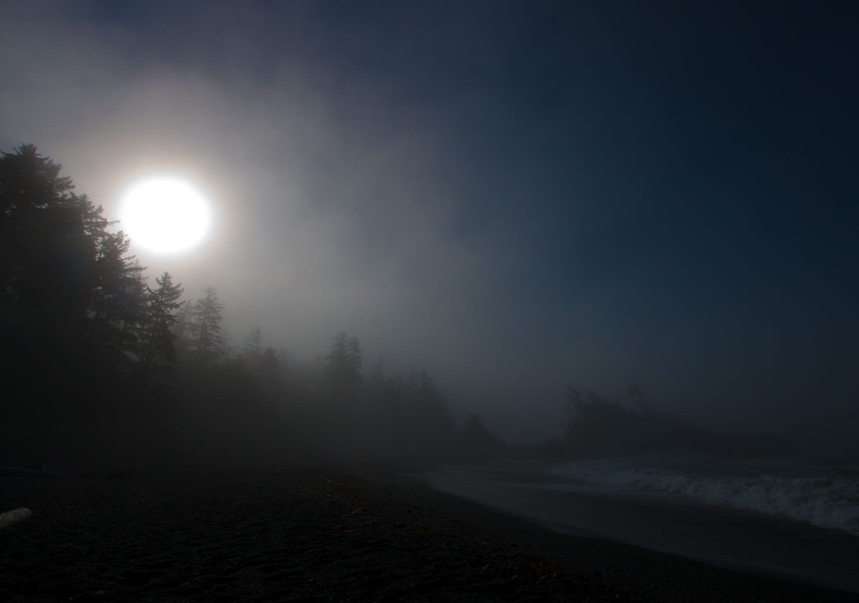 Beach on the Clayoquot Sound in a deep morning fog.