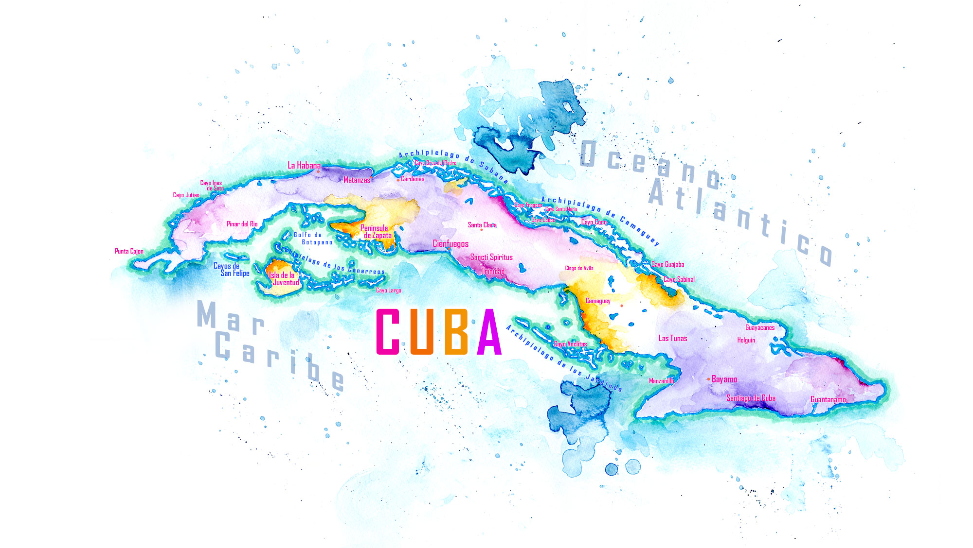 Handpainted Map of Cuba Watercolor Cuba Map
