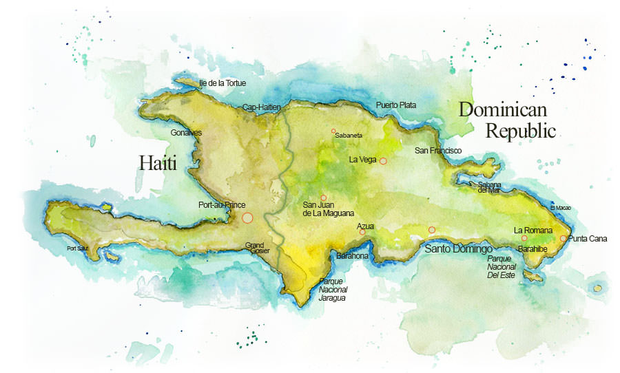 Dominican Republic Map, Handpainted by Erik Gauger