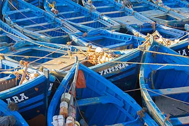 Blue boats and dye of Essaouira