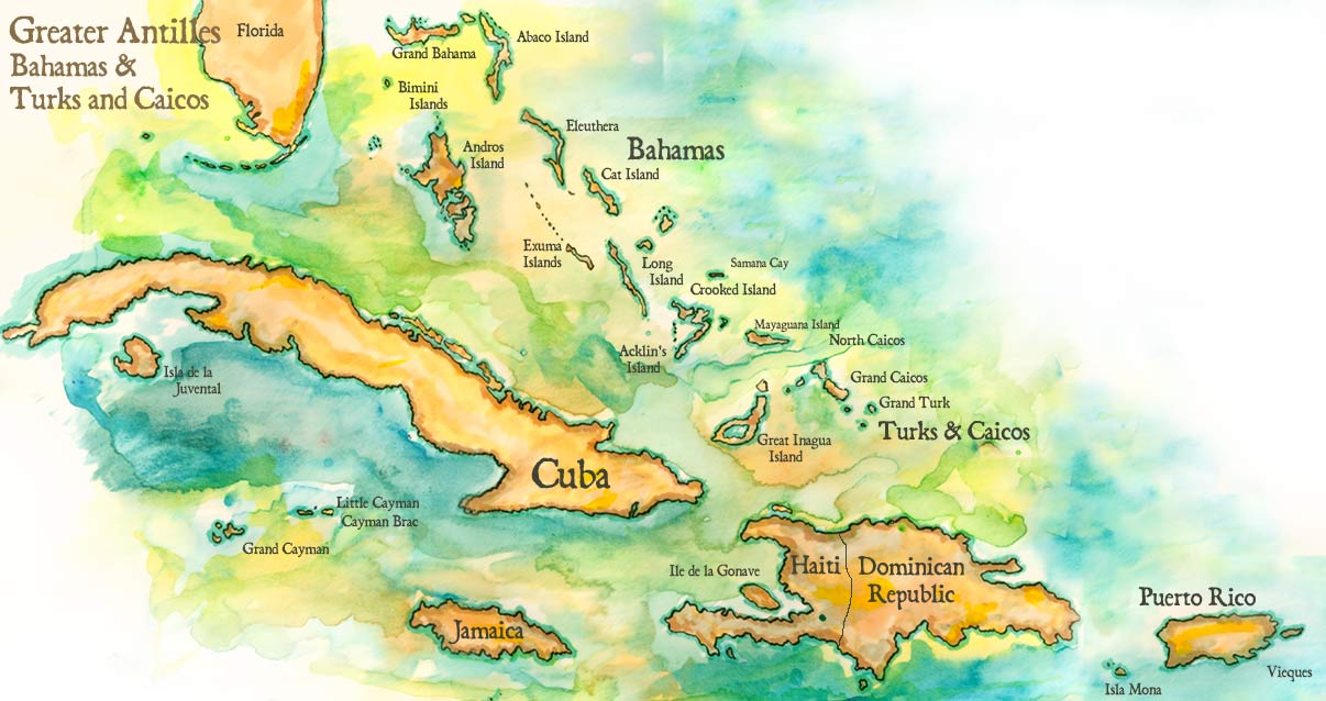 Map of the greater antilles