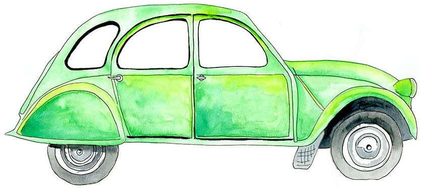 French Green Car