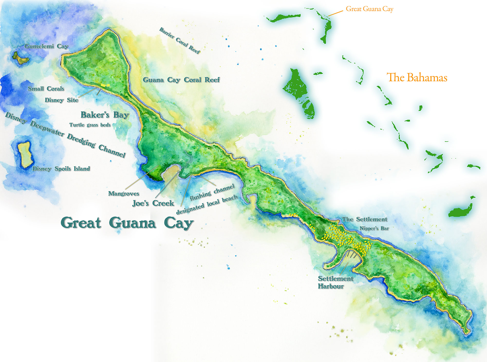 Guana Cay Map | Handpainted Map of Great Guana Cay, Abaco, Bahamas