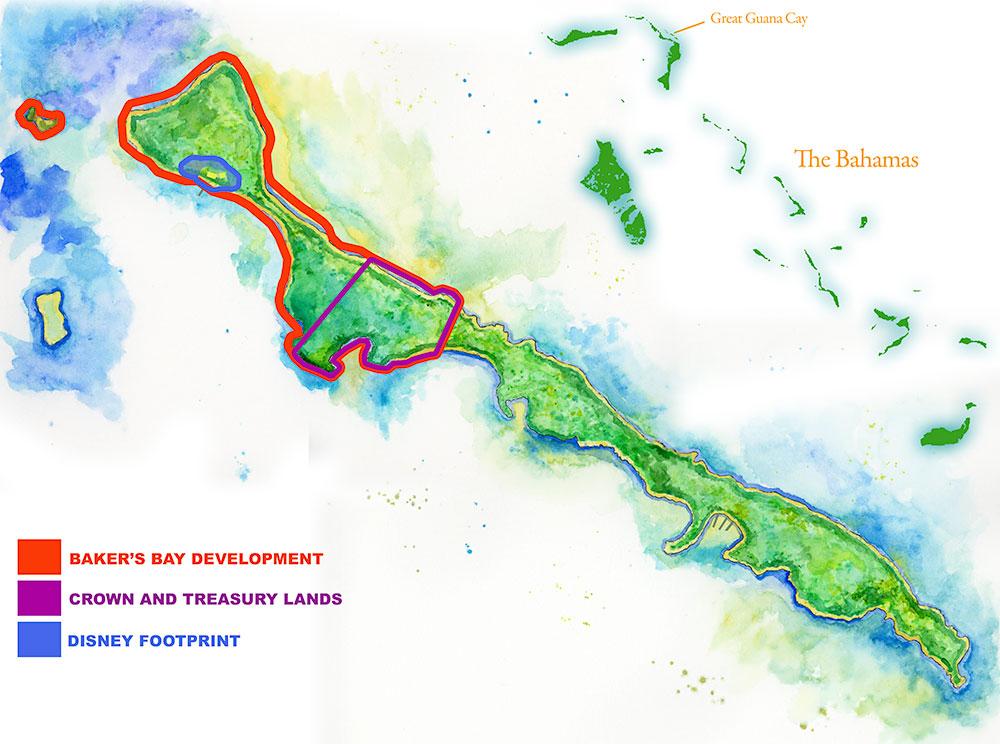 Bakers Bay Bahamas Map Guana Cay Map | Handpainted Map of Great Guana Cay, Abaco, Bahamas