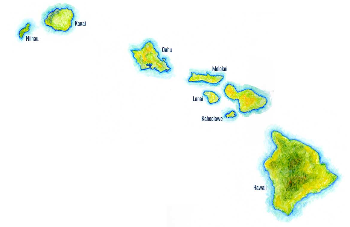 Hawaiian Islands Map Handpainted Hawaii Map