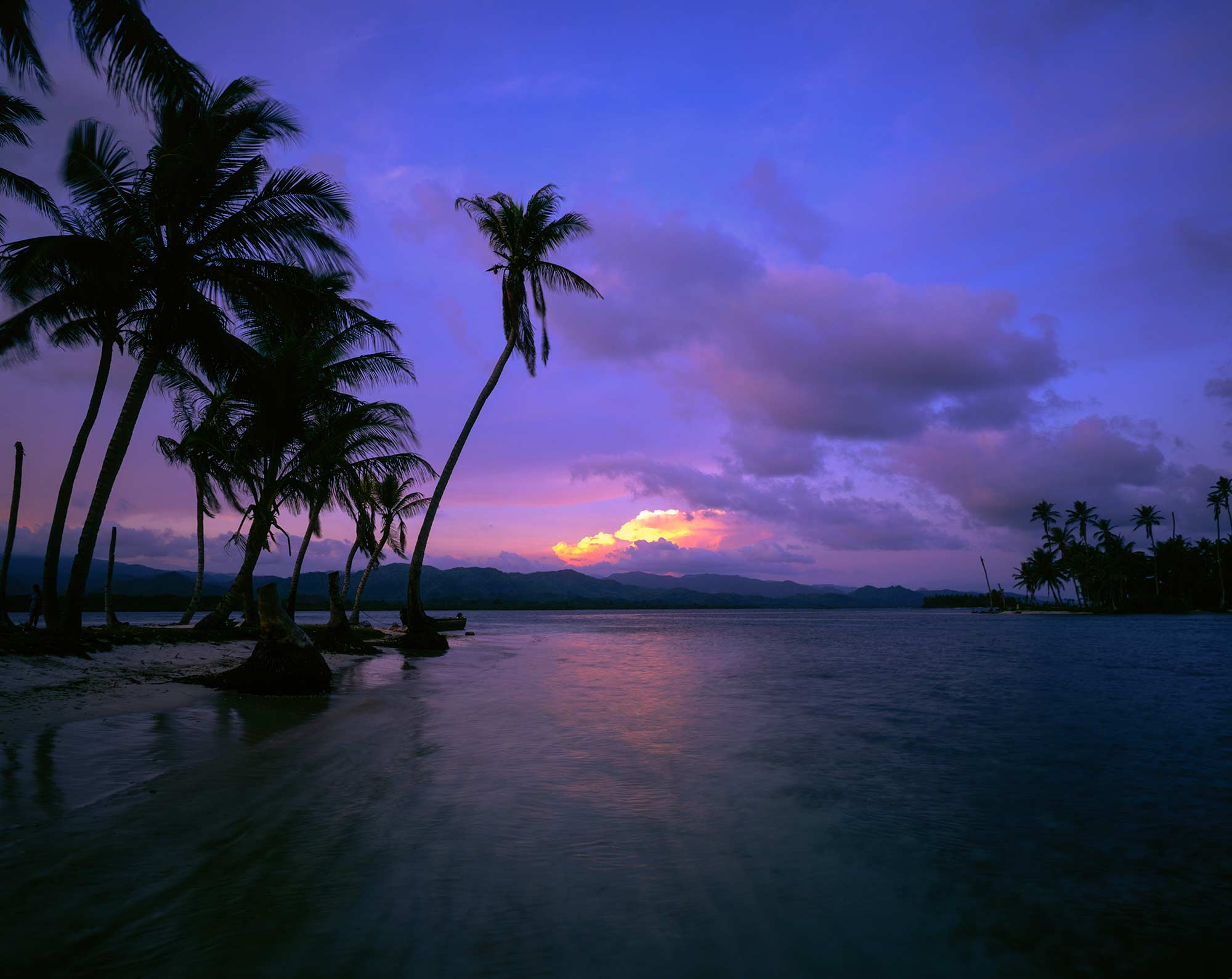 Scene of the San Blas Islands at Sunset