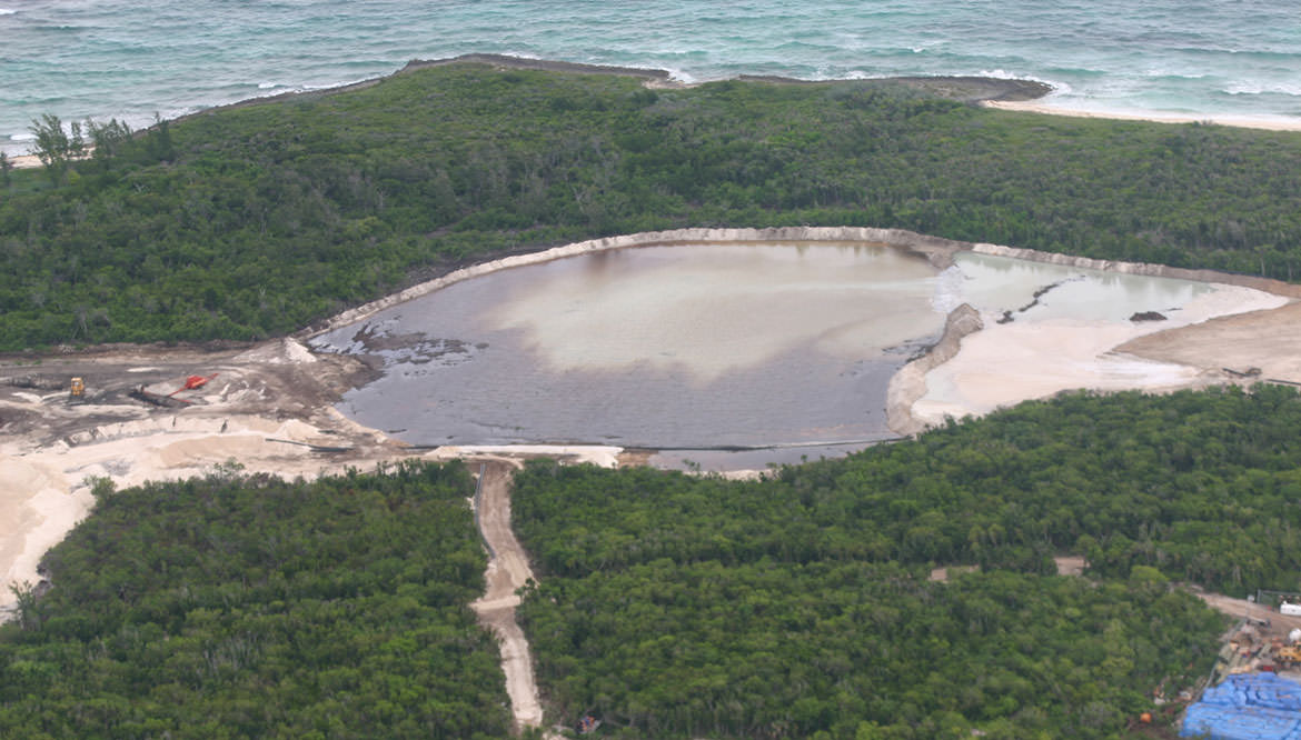 Mangroves of Guana Cay being destroyed to build a marina for Bakers Bay.