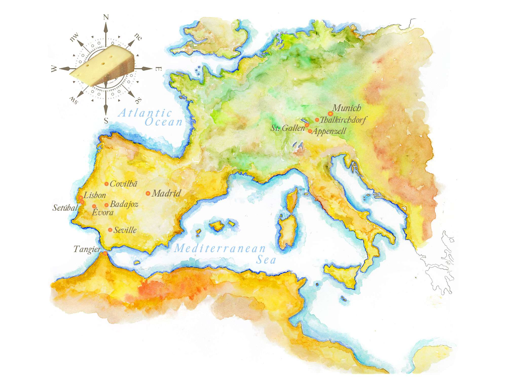 Handpainted Map of Europe | Europe Map on my country map, my weather map, my travel map,