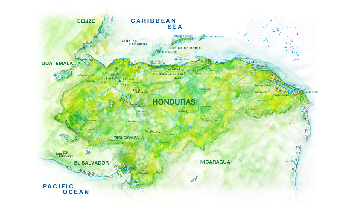 Map Of Honduras Watercolor Honduras Map - Hondurus map