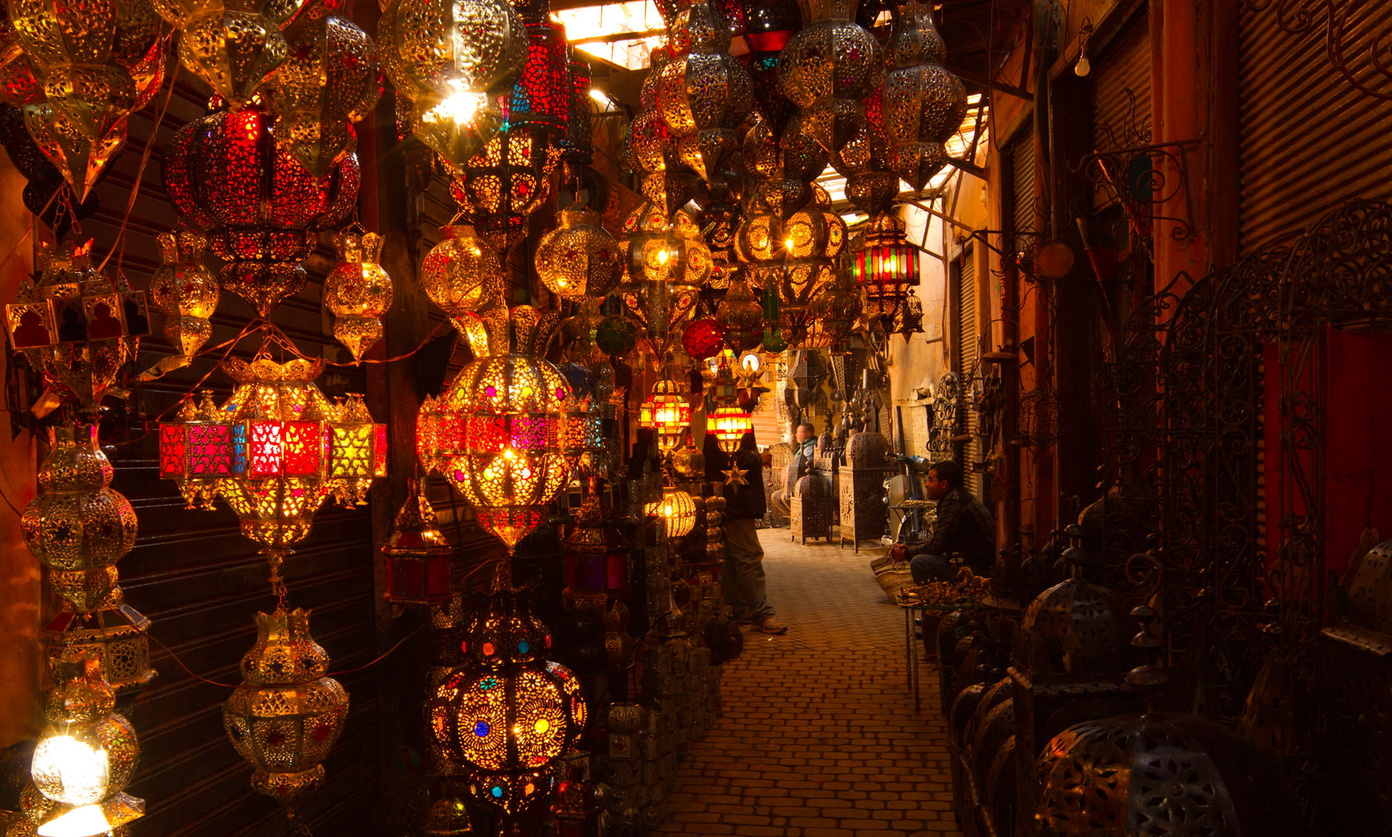Lamps for sale in the Marrakech souks