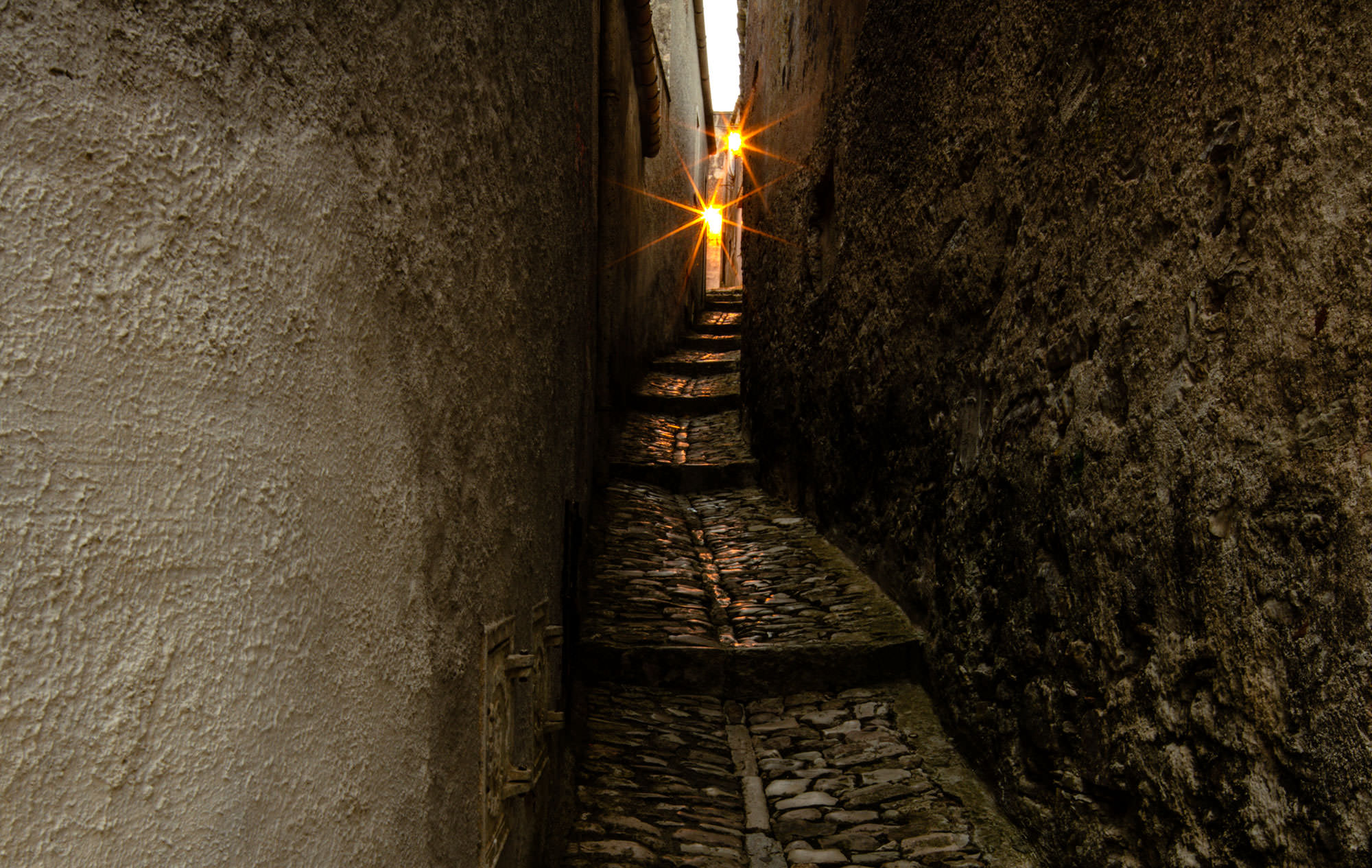 A narrow alley in Erice, Sicily.