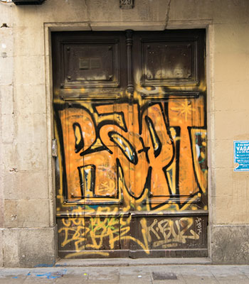 Orange Graffiti Door