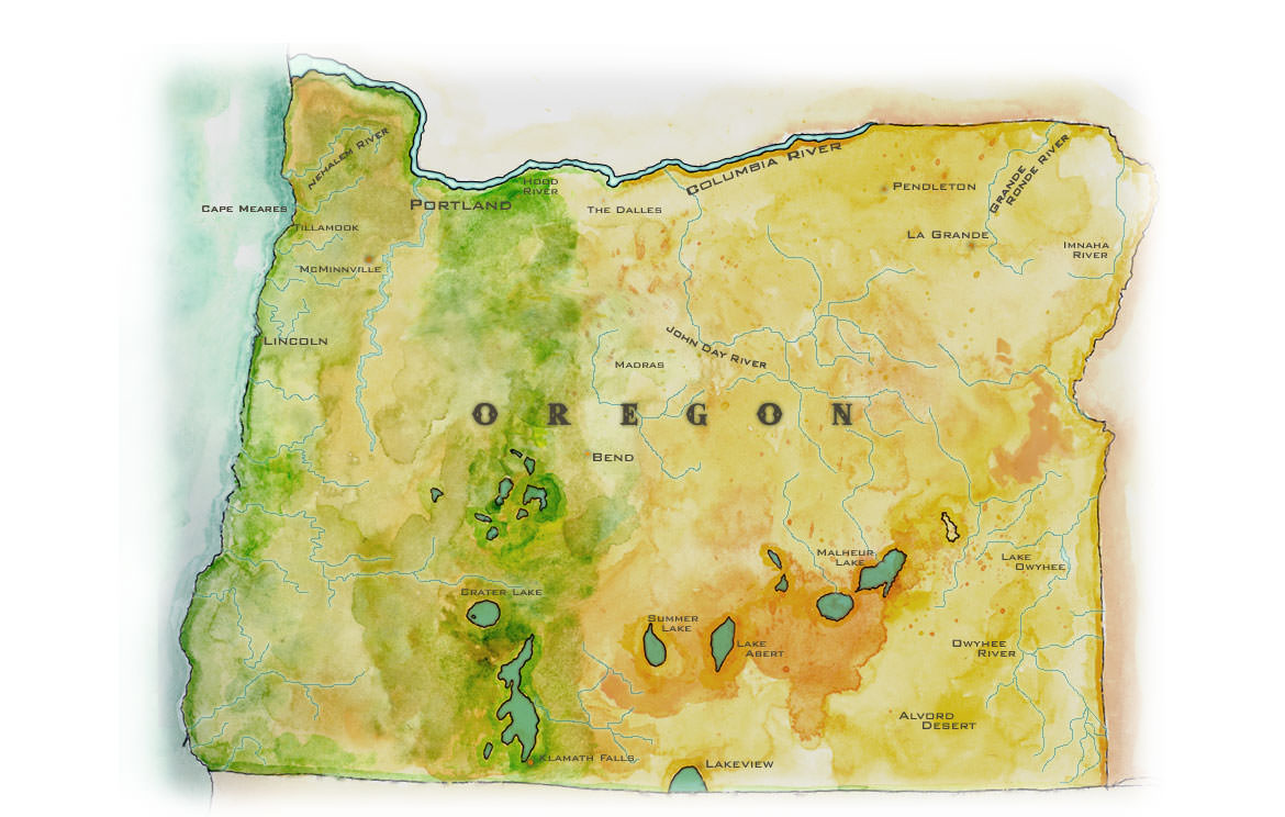 Alvord Desert Oregon Map.Oregon Map Handpainted Antique Map