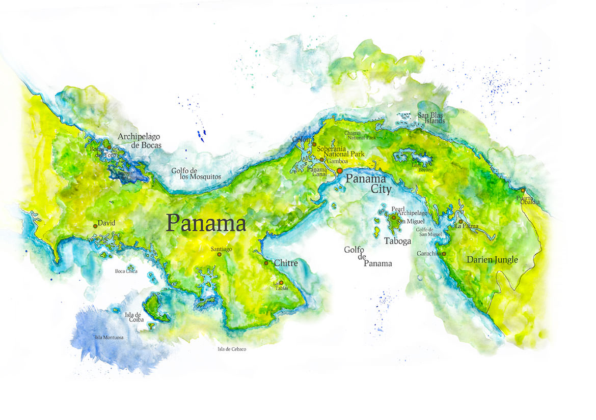 Handpainted Map of Panama