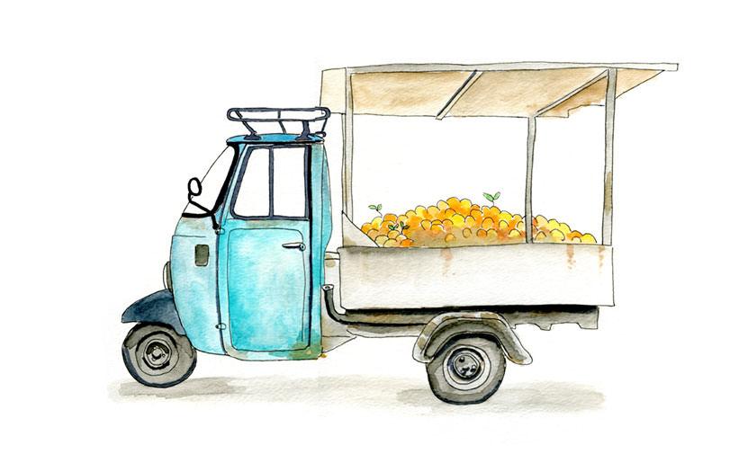 Watercolor Piaggio Ape 3-Wheeled Truck