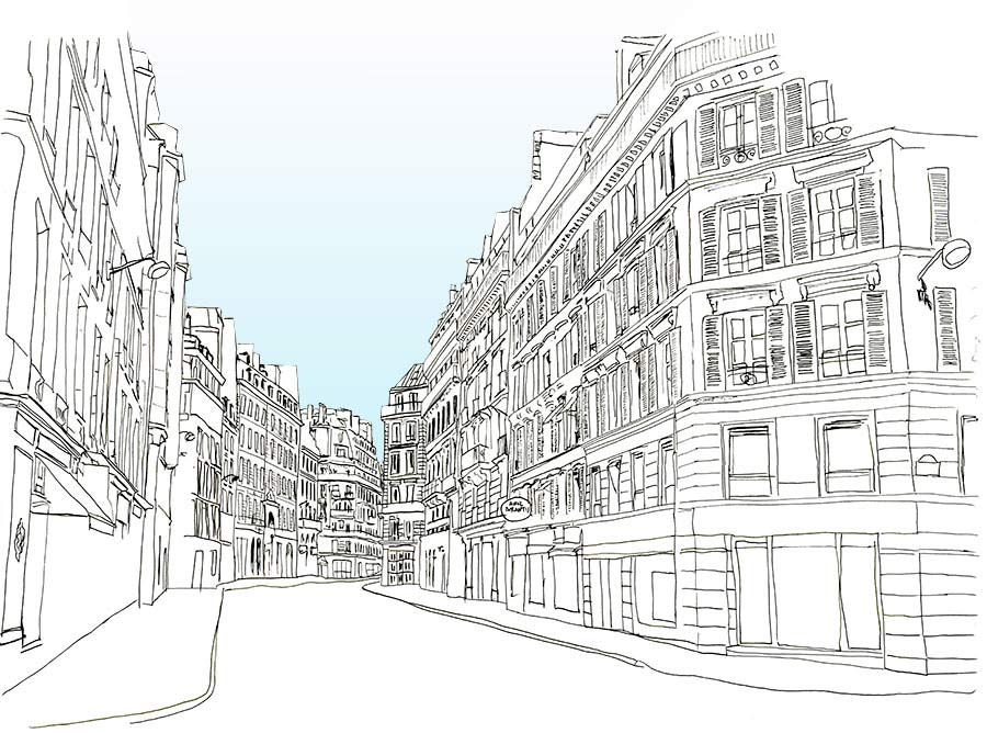 Line Art Building : Paris sketch journal sketches