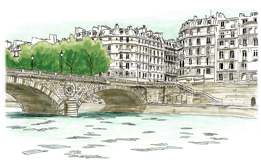 Pont Louis-Philippe Paris Sketch