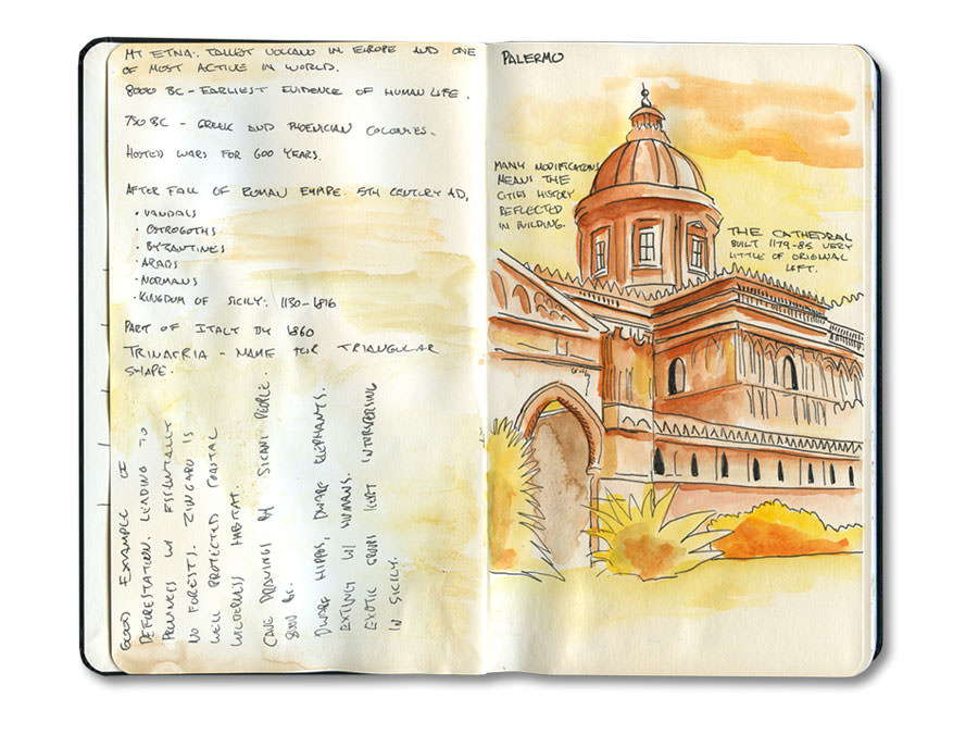 Page from my Sicily, Italy Moleskine Journal