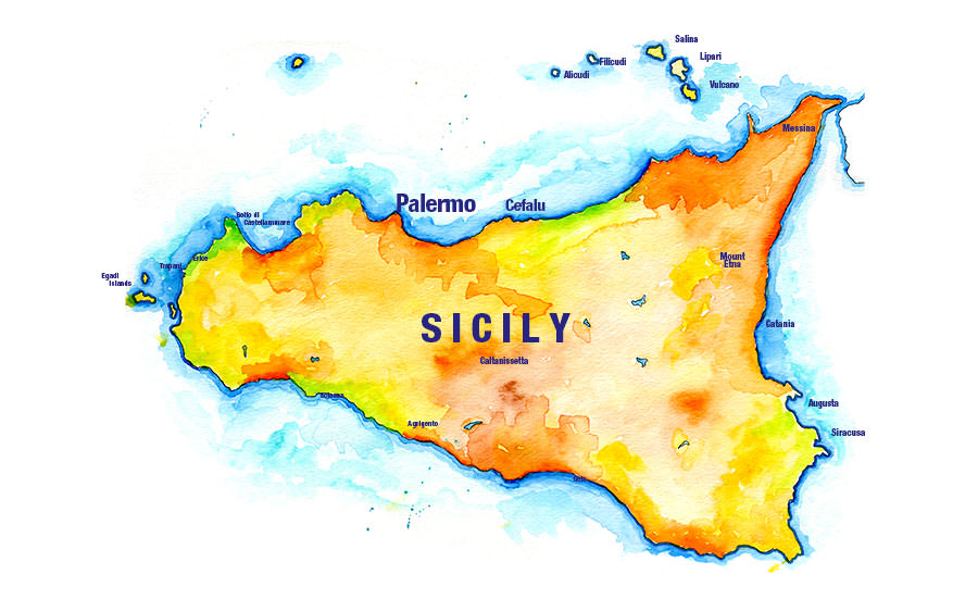 Handpainted map of Sicily