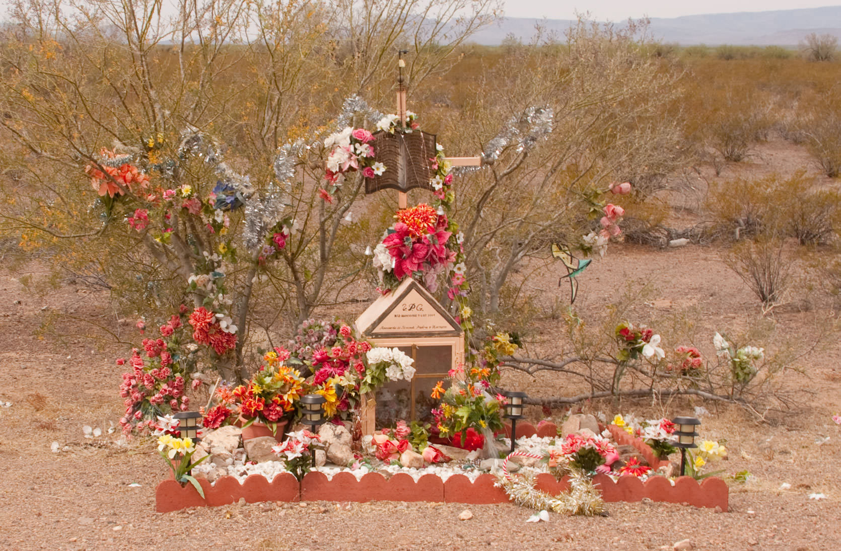 Memorial on a lonely road in New Mexico