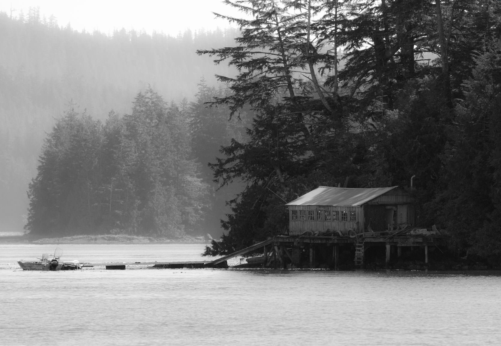 Tofino, British Columbia.  Fishing shack on a small island in Clayoquot Sound.