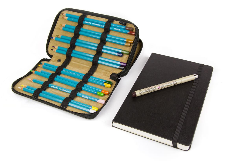 Travel sketch with watercolor pencils