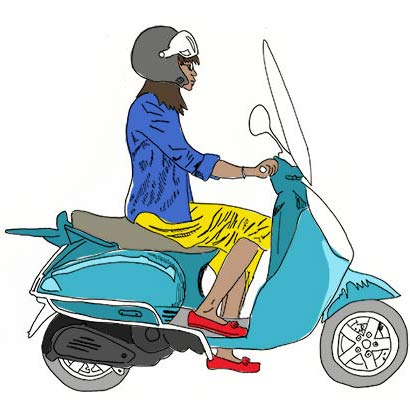 Woman on a Moped in Paris