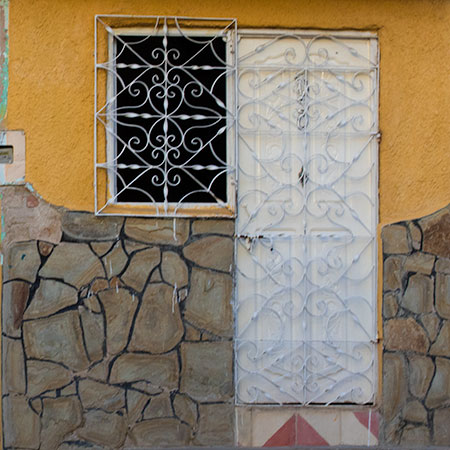 Window and Door with Yellow Paint in Cuba